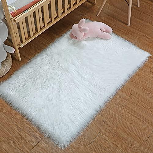 DAOXU Piel de Imitación,Cozy sensación como Real, Alfombra de Piel sintética Lavable para sofá o Dormitori (75 x 120 cm, Blanco)