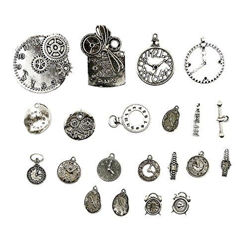 Milageto 20 Piezas Surtidos Steampunk Encantos Reloj Reloj Parte Colgante Fabricación de Joyas