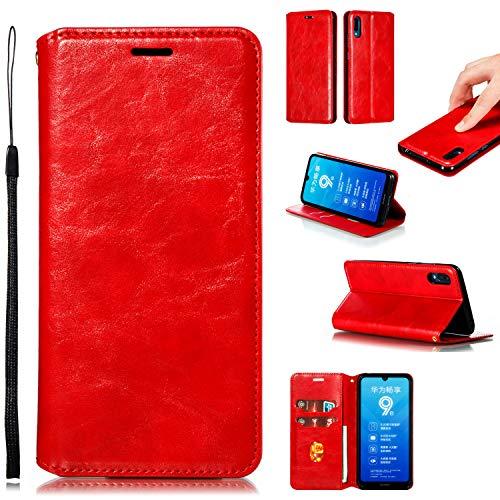 LODROC Huawei Y6 2019/Honor 8A Hülle, TPU Lederhülle Magnetische Schutzhülle [Kartenfach] [Standfunktion], Stoßfeste Tasche Kompatibel für Huawei Y6 Pro 2019 - LOYKB0200392 Rot