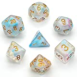UDIXI Dice Set DND Polyhedral Dice Iridecent Swirls Dice for Role Playing Game Dungeons and Dragons D&D and Math Teaching with Dice Bag(Pink &Cyan)