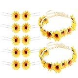 HUAESIN 12pcs Conjunto de Flores para el Pelo Hawaiana Diadema Girasoles Clips Pelo pequeños Banda Girasol Corona Amarillo para Niña Mujer Boda Fiesta Bautizo Comunion Horquillas Girasol Dcoracion
