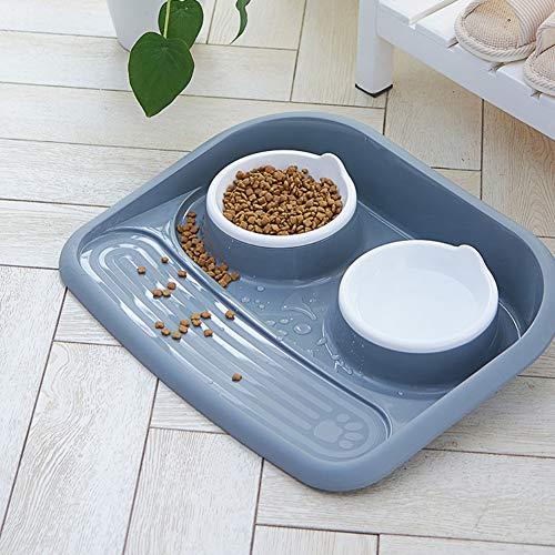 Ohhome Mascotas Perros Comedero Doble Alimentador Respectueux de l'environnement PP Alimentos Tazón de Agua para Mascotas Cachorros