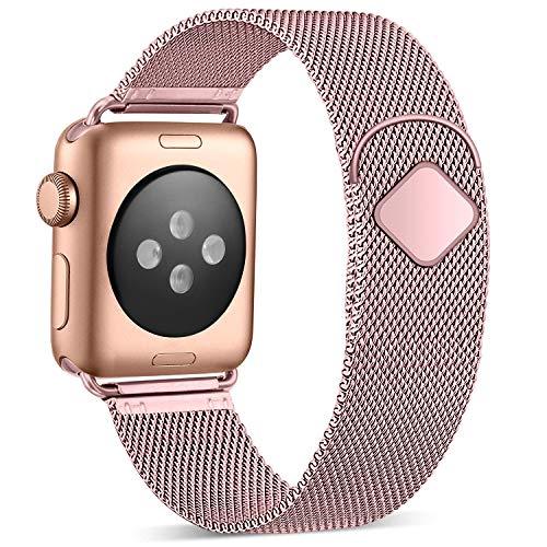 Funbiz Metallo Cinturino Compatible con Apple Watch 38mm 40mm 42mm 44mm, Bracciale di Ricambio Traspirante in Acciaio Inossidabile Compatibile con iWatch Series 5 4 3 2 1, 38mm/40mm-Oro Rosa