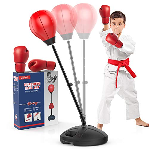 QPAU Upgraded Punching Bag for Kids, Adjustable Kids Punching Bag with Stand Incl Boxing Gloves, Kids Toys Gifts for 3, 4, 5, 6, 7, 8 Year Old Boys Girls