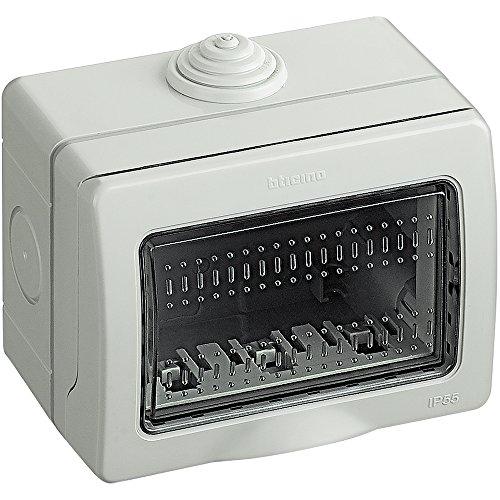 BTicino S25503E Custodia Idrobox IP55, Grigio, 3 Moduli, Bianco