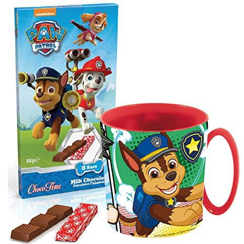 JT Süßes Geschenkset Paw Patrol Kakaotasse mit Chase und Schokolade - Tolles Geschenk oder Mitgebsel zu Schulanfang Kindergeburtstag