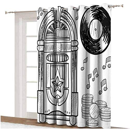 Jukebox Sliding Door Curtain Doodle Style Retro Music Box Notes Coins Long Play Vintage Sketchy Artwork Thermal Backing Sliding Glass Door Drape,Single Panel 80x84 inch,for Patio Door Black and White