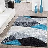 Tapis Moderne Poils Longs Shaggy Vigo À Motifs Noir Gris Blanc Turquoise Super Prix, Dimension:120x170 cm