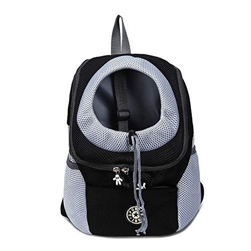 Out Double Shoulder Portable Travel Backpack Outdoor Pet Dog Carrier Bag Pet Dog Front Bag Mesh Backpack Head Cat Carrier (Color : Black, Size : 30X34X16 CM)