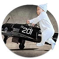 ソフトラウンドエリアラグ 100x100cm/39.4x39.4IN 滑り止めフロアサークルマット吸収性メモリースポンジスタンディングマット,航空機