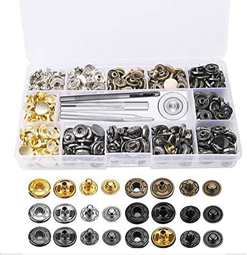 120 piezas de broches a presión, botón de presión, botón de presión, kit de herramientas de fijación para ropa, manualidades, reparaciones, decoración, 6 colores