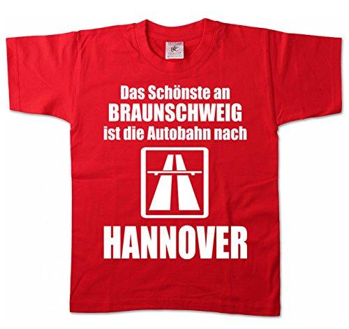 Artdiktat Kinder T-Shirt - Anti Braunschweig 98/104, rot