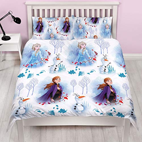 Frozen 2 Official Disney Double Anna & Elsa Design Reversible Two Sided Bedding Duvet Cover with Matching Pillow Case, White