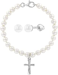 925 Sterling Silver White Simulated Pearl Cross Religious Jewelry Set Earrings Bracelet Babies