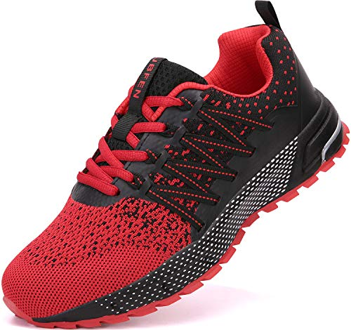 UBFEN Running Shoes for Mens Womens Sports Shoes Casual Footwear Walking Fitness Jogging Athletic Indoor Outdoor Fashion Sneakers 11 Women/9.5 Men C Red