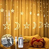 Anpro LED Curtain Light, 12pcs Moon Star 138 LEDS Curtain Light, with remote control 8 light mode timing USB and battery box powered LED string lights