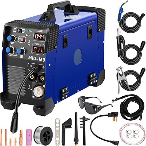 Mophorn Máquina Soldadora, Mig Welder, MIG-160, Máquina Soldadora, MIG MMA TIG IGBT DC, Inversor Soldador, Pantalla Digital, Azul