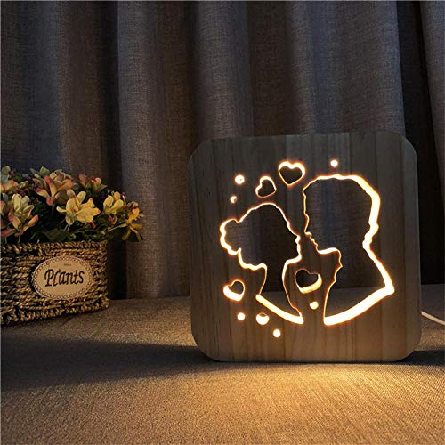 YGRHHP Lámpara de mesita de noche de amor creativo lámpara de mesa de madera cálida luz de noche LED lámpara decorativa lámpara de mesa de dormitorio-B