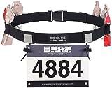 Engine Design Group NGN Cinturón de número de carreras para triatlón, maratón, correr, ciclismo (10 bucles de gel) (negro)