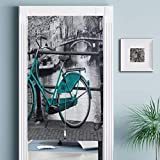 JISMUCI Cortinas para puertaVintage Bicycle Photo of Bikes Bridges Leaves Trees Architecture Apartments Amsterdam,Decoración del hogar para Cocina,Sala de Estar