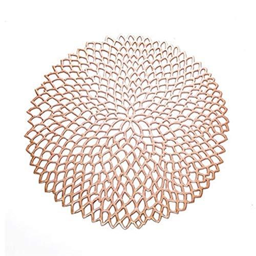 LZFLZ 38 cm Tischset for Esstisch PVC Kunststoff Hohl Isolierung Runde Achterbahn Pads Tisch Schüssel Matten Wohnkultur (Color : Rose Gold, Shape Style : Round)
