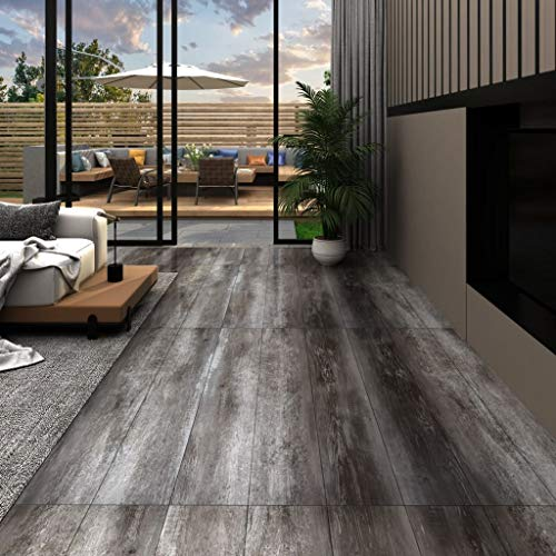 Tidyard Vinyl-PVC Laminat Dielen Laminat Dielen Fußboden PVC Wasserfest, Schwer Entflammbar, für Küche, Bad, Flur, 4,46 m², Gestreift Holz