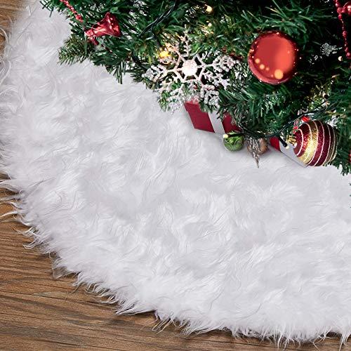 HusDow 90cm Weihnachtsbaumrock Baumdecke Weihnachtsbaum, Weiche Weihnachtsbaumdecke Weißer Kunstpelz Teppich Weihnachtsfeiertags Dekoration Baumschmuck