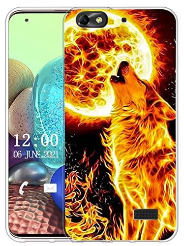 Sunrive Cover compatibile con Honor 4C/Huawei G Play Mini,Sunrive Custodia Case in molle Trasparente silicone Morbida Flessibile Antigraffio protettiva back custodie(X lupo)