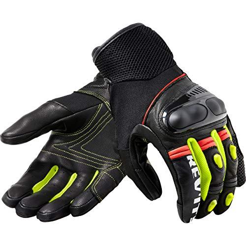 REV'IT! Motorradhandschuhe kurz Motorrad Handschuh Metric Handschuh schwarz/neon-gelb XL, Herren, Tourer, Ganzjährig, Leder/Textil