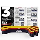 Iron Core Fitness Pull up Assistance Bands Set of 3 Black Red Yellow Pull Up Bands Assist Set. Thick Long Loop Assisted pull up Chin Up Bands Set for Crossfit Bodybuilding Toning Yoga Mobility