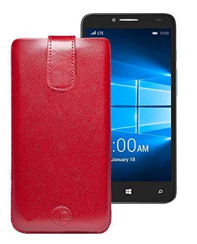 Original Favory Etui Tasche für / Alcatel One Touch Pop 4S / Leder Etui Handytasche Ledertasche Schutzhülle Hülle Hülle Lasche mit Rückzugfunktion* in rot