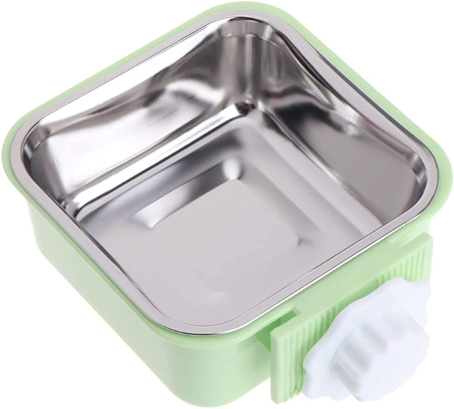 NYDZDM Bowl Stainless Steel Water Food Feeder,Dog Cat Hanging Cage Square Supplies (color   Green)