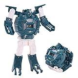 Mini Reloj electrónico para niños, Reloj transformación Creativa deformación Reloj de Pulsera Juguete de Dibujos Animados Pantalla electrónica Juguete Robot (Azul)