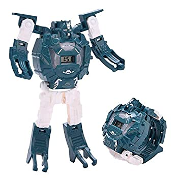 Kids Transformer Watch,Deformation Robot Transformers Digital Watch Toy for Boys and Girls  Blue