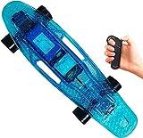 YLLN Longboard eléctrico Mini monopatín eléctrico, tablero con ruedas eléctricas, tablero de plátano LED de plástico construido para principiantes y viajeros urbanos. Tabla de skate ancha y estable (3