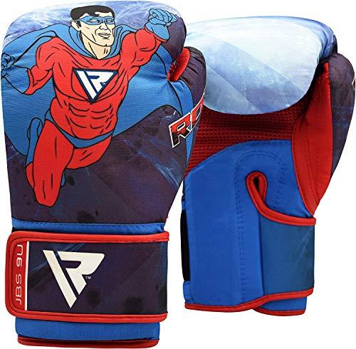 RDX Guantoni Boxe Bambini per Allenamento & Muay Thai | Maya Hide Pelle Junior Guanti da Sacco per Kickboxing, Sparring | Grande per Sacchi Pugilato,Colpitori Punzonatura, 6oz Boxing Gloves