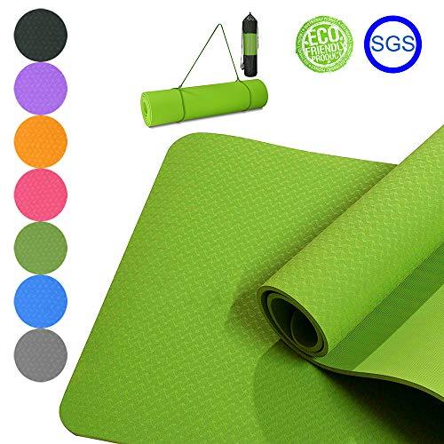 Good Times Yogamatte, rutschfest, TPE, umweltfreundlich, hypoallergen, hautfreundlich, Gymnastikmatte, Fitnessmatte, Sportmatte, Bodenmatte mit Tasche & Trageband, 183x61x0,8cm (Grasgrün)