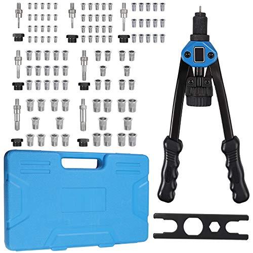 AUTOUTLET Nietmutternzange Set, Nietzange M3, M4, M5, M6, M8, M10, M12, 7X Chrom-Molybdän-Stahl Dorne und 100PCS Nietmutter, für Dicke Stahlbleche, 13'' Heavy Duty Hand Riveter Rivet Nut Gun-blau