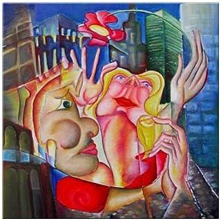 """Pintura Lienzo al Óleo Arte Abstracto Moderno """"AMOR EN NUEVA YORK"""" por DOBOS, Cuadro Original para Decoración del Hogar"""