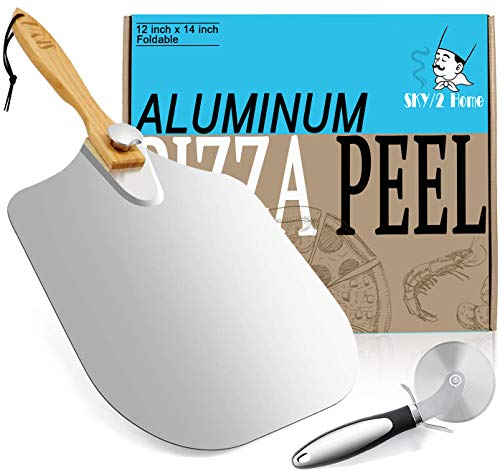 Aluminum Metal Pizza Peel with Foldable Wood Handle for Easy Storage 12-Inch x 14-Inch, Pizza Paddle for Baking Homemade Pizza Bread,Large Pizza Spatula for Indoor and Outdoor Pizza Oven