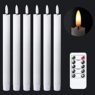 GenSwin Flameless White Taper Candles Flickering with 10-Key Remote, Battery Operated Led Warm 3D Wick Light Window Candle...