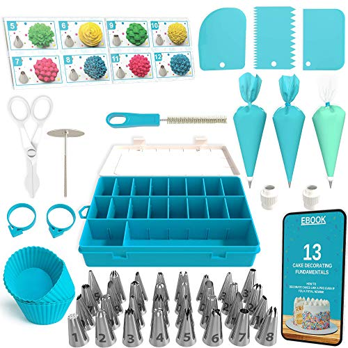 Cake Decorating Tools 100-Piece Piping Bags and Tips Set Cake Decorating Supplies with 32 Piping Tips Cake Decorating Kit with Frosting Tips and Bags Cupcake Decorating Kit with Icing Tips