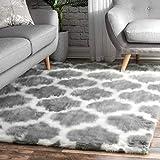nuLOOM Trellis Faux Sheepskin Soft & Plush Shag Area Rug, 5' x 7', Grey