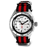 VOSTOK | Komandirskie K-65 Automatic Self-Winding Russian Military Wrist Watch | 24 Hour Dial | WR 200 m | Fashion | Business | Casual Men's Watches | Model 650546 Black-Red Strap