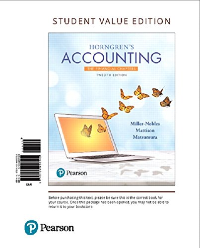 Download Horngren's Accounting, The Financial Chapters, Student Value Edition Plus MyLab Accounting with Pearson eText -- Access Card Package (12th Edition) 0134642945