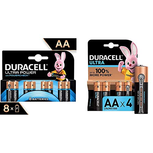 Duracell LR06 MX1500 Ultra AA con Powercheck - Batterie Stilo Alcaline & LR03 MN2400 Plus AAA - Batterie Ministilo Alcaline, Confezione da 8 Pacco del Produttore, 1.5V