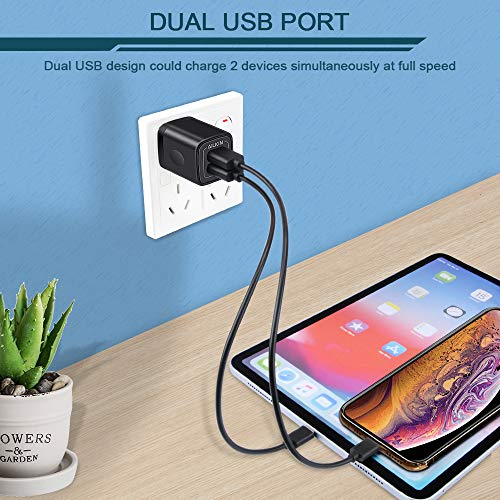 USB Wall Charger, Ailkin 2.1A Dual Port Portable Universal USB Wall Charger Adapter Compatible with iPhone X/8/7/6S/6S Plus, iPad Pro/Air 2/mini2, Galaxy S7/S6/Edge/Plus, Note 5/4, LG, HTC, and More