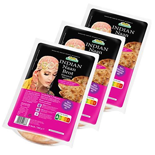 """Mestemacher - 3er Set """"Original"""" INDIAN Naan Brot Klassisch Weizen in 240 g Packung (4 Stück) - Indisches Fladenbrot Naanbrot ideal als Beilage oder Snack"""