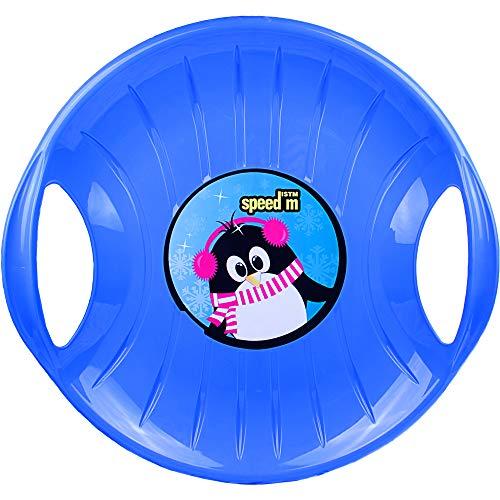 Ondis24 großer Tellerrutscher mit 2 Griffen Porutscher Tellerschlitten Schlitten Kunststoff rot 60 cm leicht, stabil & günstig, riesiger Spaß garantiert (Blau)