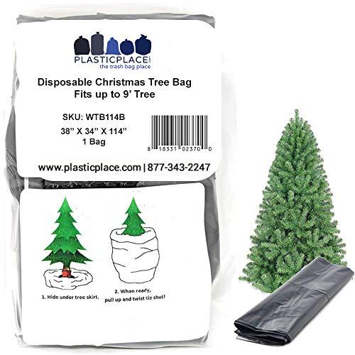 Plasticplace WTB114B Weihnachts-Entsorgungs- und Aufbewahrungstasche, passend für Bäume 2,7 m hoch, 96,5 x 86,4 x 289,6 cm, 1,5 MIL (schwarz)